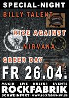 BILLY TALENT / NIRVANA / RISE AGAINST / GREENDAY S...